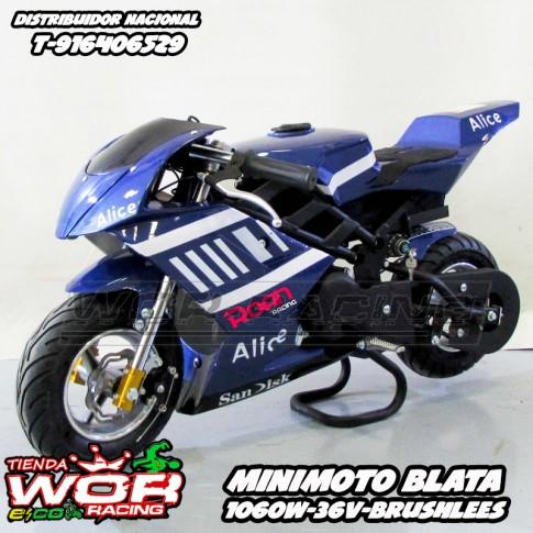 Minimoto electrica gp blata Roan Rocket 1060W verde / azul pocketbike